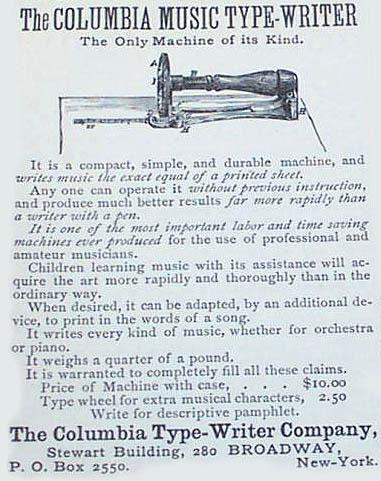 An advertisement for the Columbia Music Typewriter