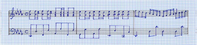 The copyist writes the music in blue according to the pre-planned sketch.