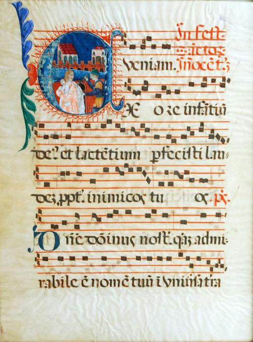 Illuminated manuscript from a Catholic Mass.