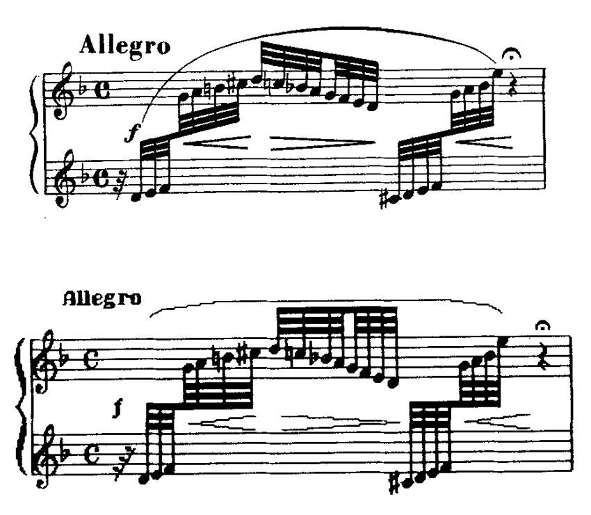 """The top example was typed on the Music Writer in 1962. The templ, beams, slur, crescendos and lines were added by hand. The lower example is an """"instant print"""" without retouching, of the same music as it appears on the PCS-500 [MusicComp] screen."""