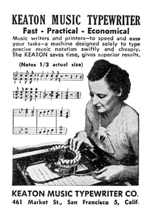 Keaton Music Typewriter ad with the location of the company at 461 Market St., San Francisco, California