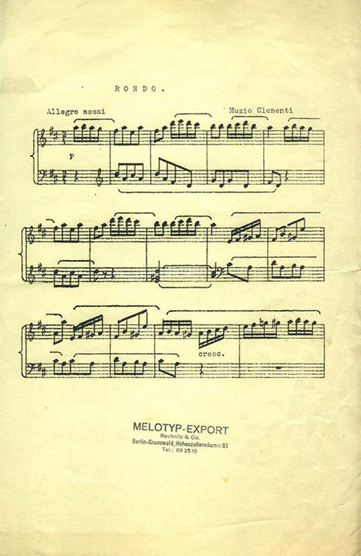Sheet music printed with the Melotyp