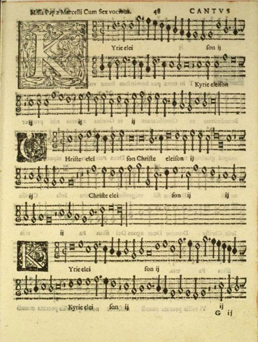 Composition - Manuscript printed by moveable type. Music composed by Palestrina.