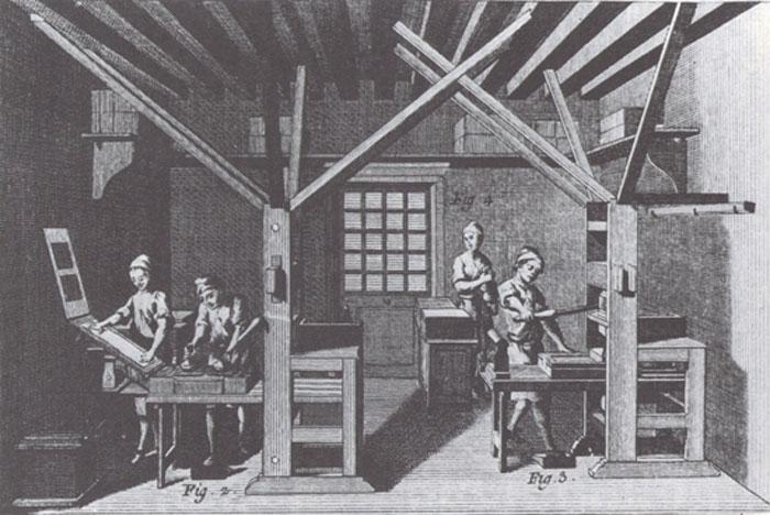 Printing press with workers