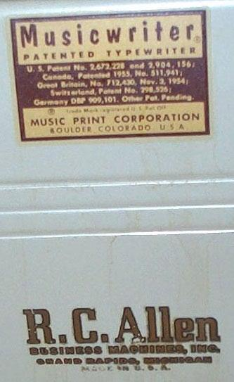 Musicwriter/R.C. Allen - The patents from US, Canada, Great Britain, Switzerland & Germany are clearly visible.