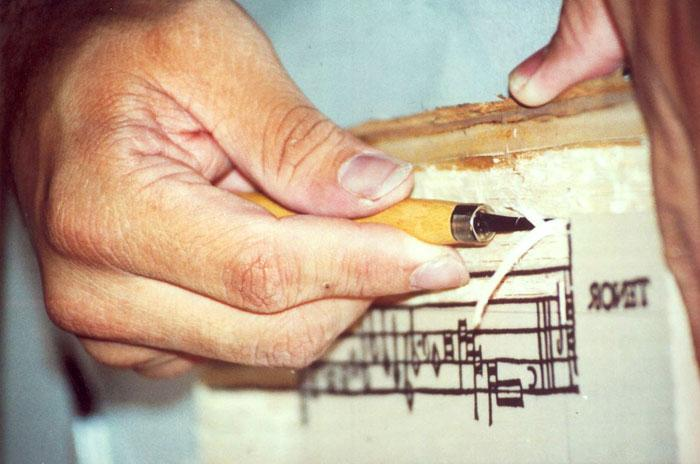 Carving the music in a woodblock