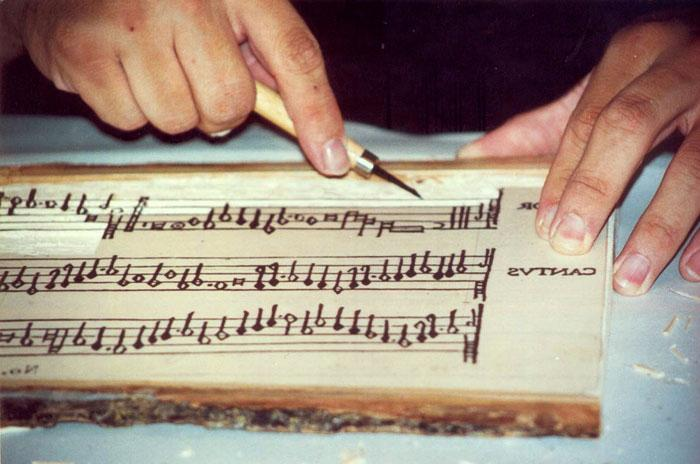 Carving the music woodblock