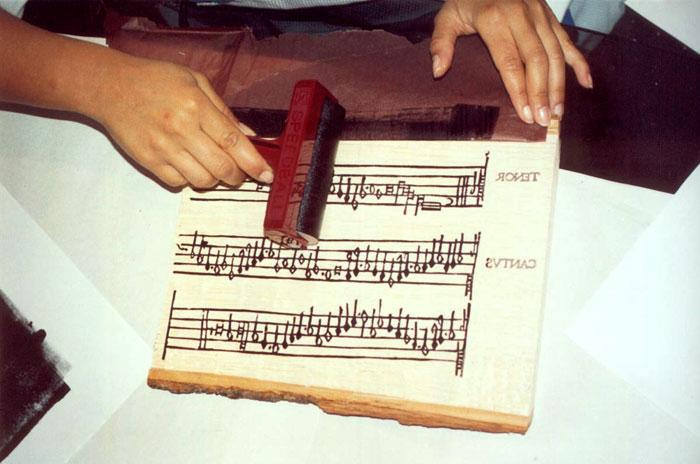 Inking The Music Woodblock